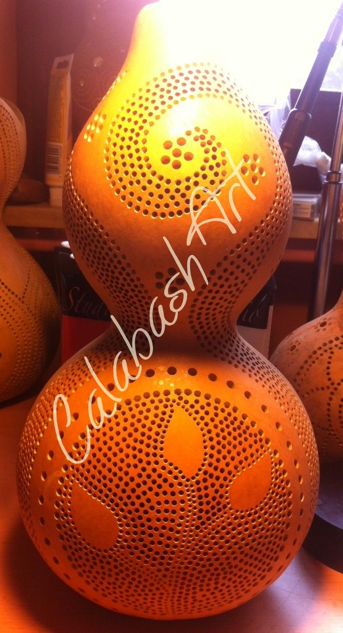 """Tischlampe, Kalebasse """"Twigs and Spirals"""" roh, CalabashArt"""
