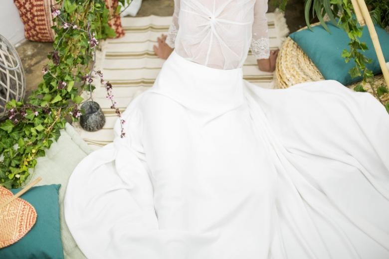 Falda vestido crepe novia boho impuribus