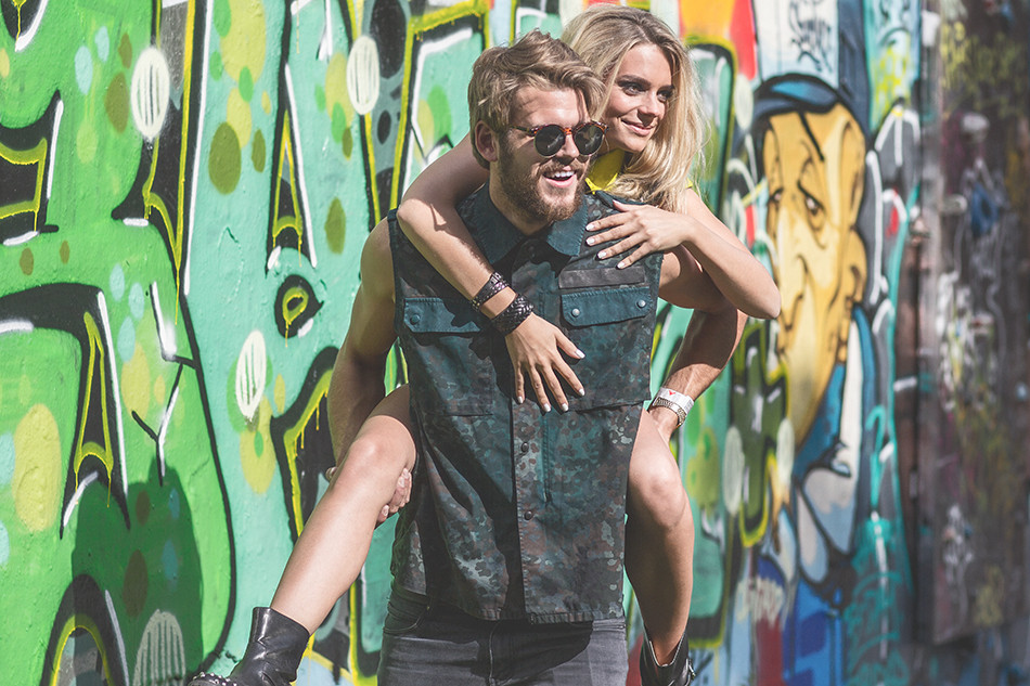 Urban Lifestyle, Graffiti Art, Model Shooting, Paarshooting, Mode, Modestrecke, Camouflage Look, Modelagentur, Fun, Festivaloutfit, Daniel Blieffert Photography