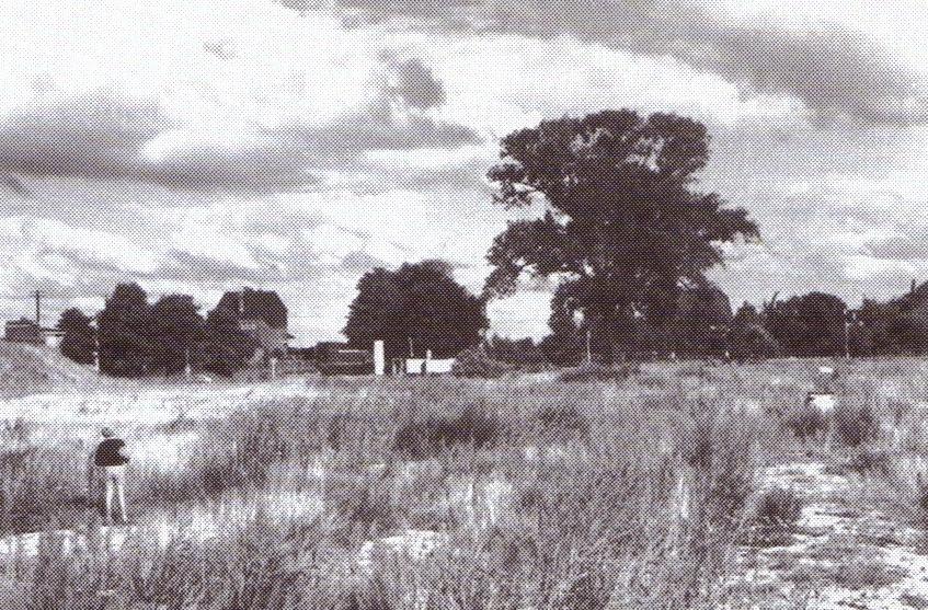 Blick auf den Oslebshauser Bahnhof von Buckmann aus, 1959