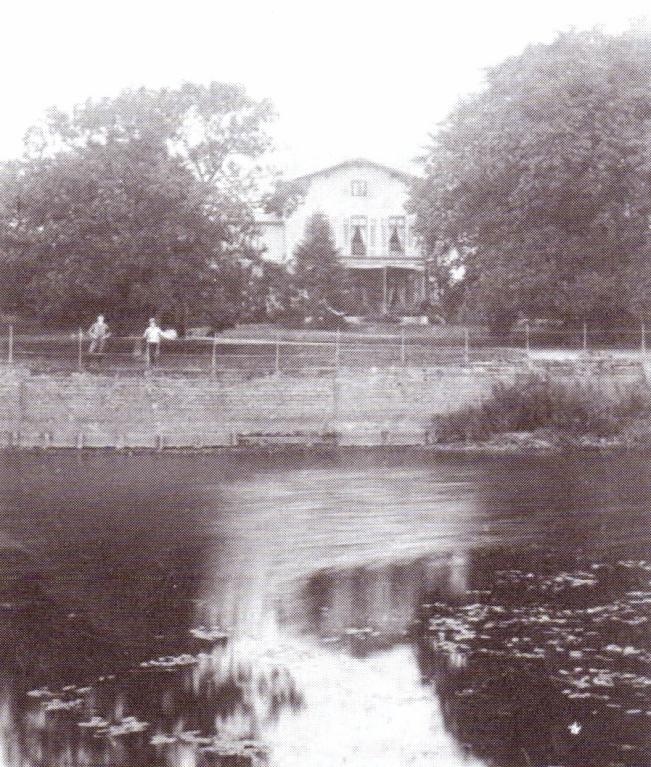 Gut Finkenau mit Weserarm um 1900