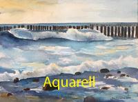 bildende kunst aquarell malerei aquarellmalerei enno franzius wellen ostsee