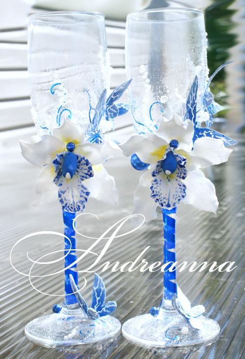 Бокалы «Синяя орхидея Butterflies» Выполняются в любом цветовом решение. Стоимость 800 грн.
