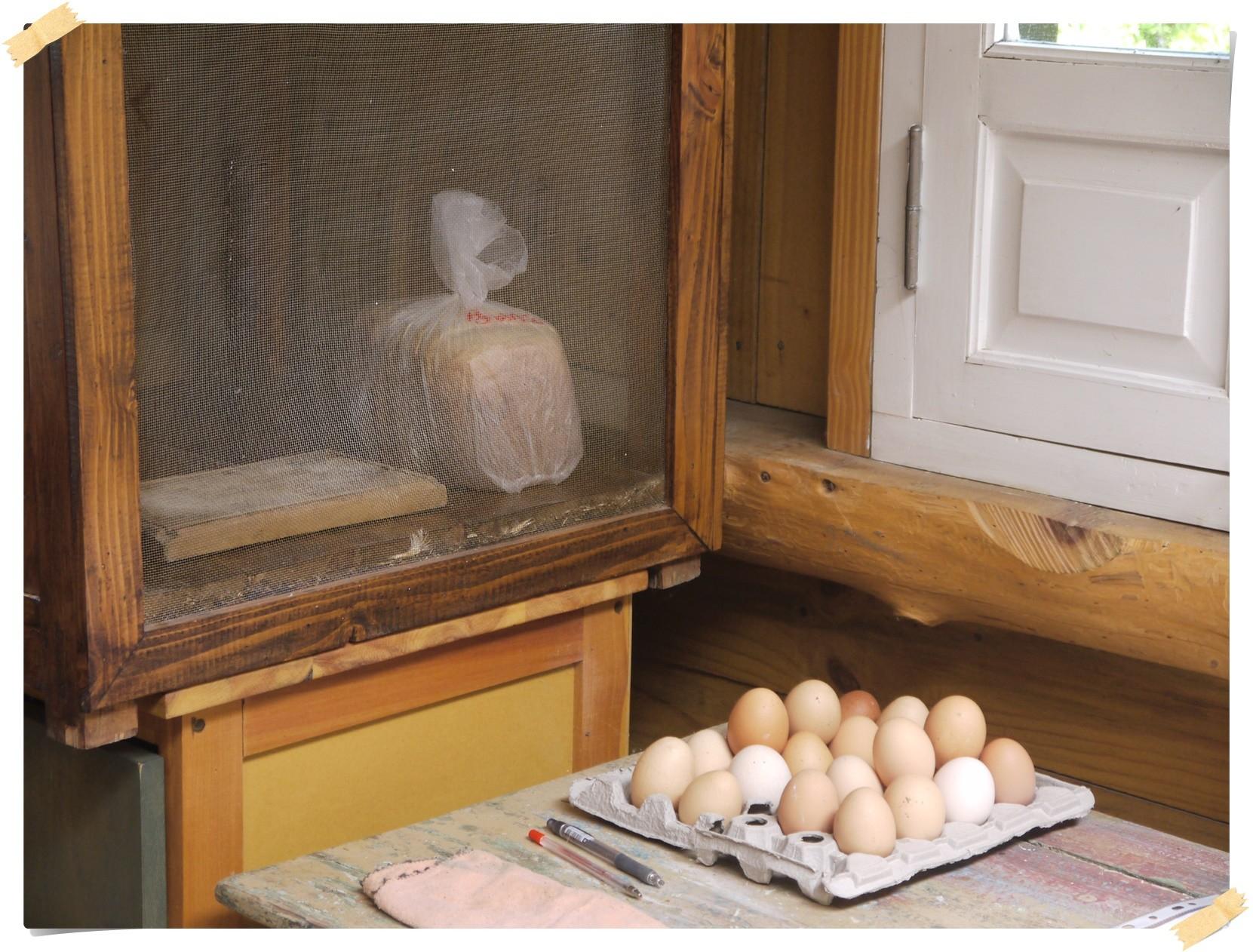 Frische Eier und Brot gibt es immer...