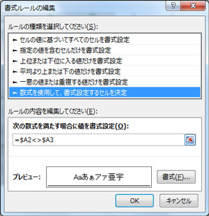 エクセル(Excel)の表に条件付き書式を設定