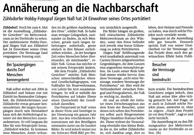 """Der Oranienburger Generalanzeiger berichtet in seiner Ausgabe vom 16./17.3.2019 über die Ausstellung """"Zühlsdorfer Gesichter"""""""