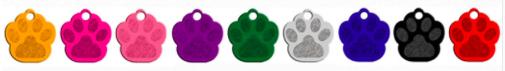 Schlüsselanhänger: farbig weniger silber, Tierpfote - Ø 3,5cm, 1mm