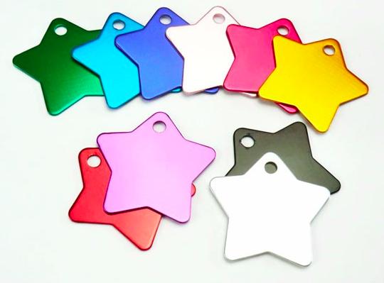 Schlüsselanhänger: farbig, Stern - Ø 3,6cm, 1mm