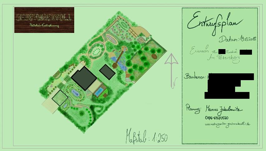 Beispiel eines Entwurfsplans (Strukturplanung eines Baugrundstücks)