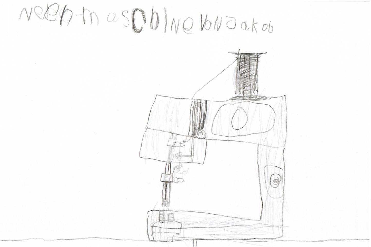 Jacob zeichnet eine Nähmaschine, Kinder-Kreativwerkstatt