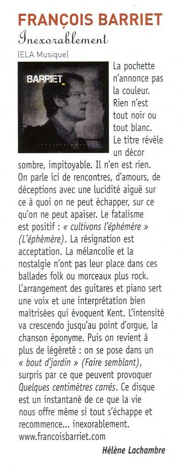 article Helene Lachambre FrancoFans pour Francois Barriet