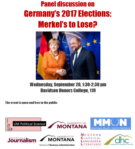 """""""Germany's 2017 Elections:  Merkel's to Lose?"""" UM panel discussion on 9/20, 1:30pm, DHC 119"""