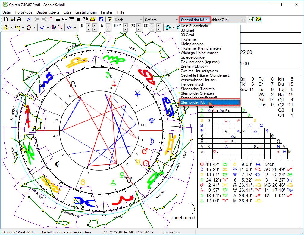 Auch verschiedene Sternbild-Darstellungen können hier ausgewählt werden