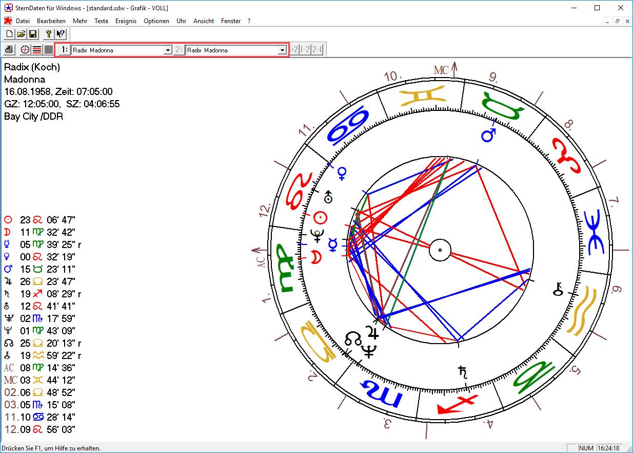 Laden Sie dasselbe Horoskop als 1: und 2: