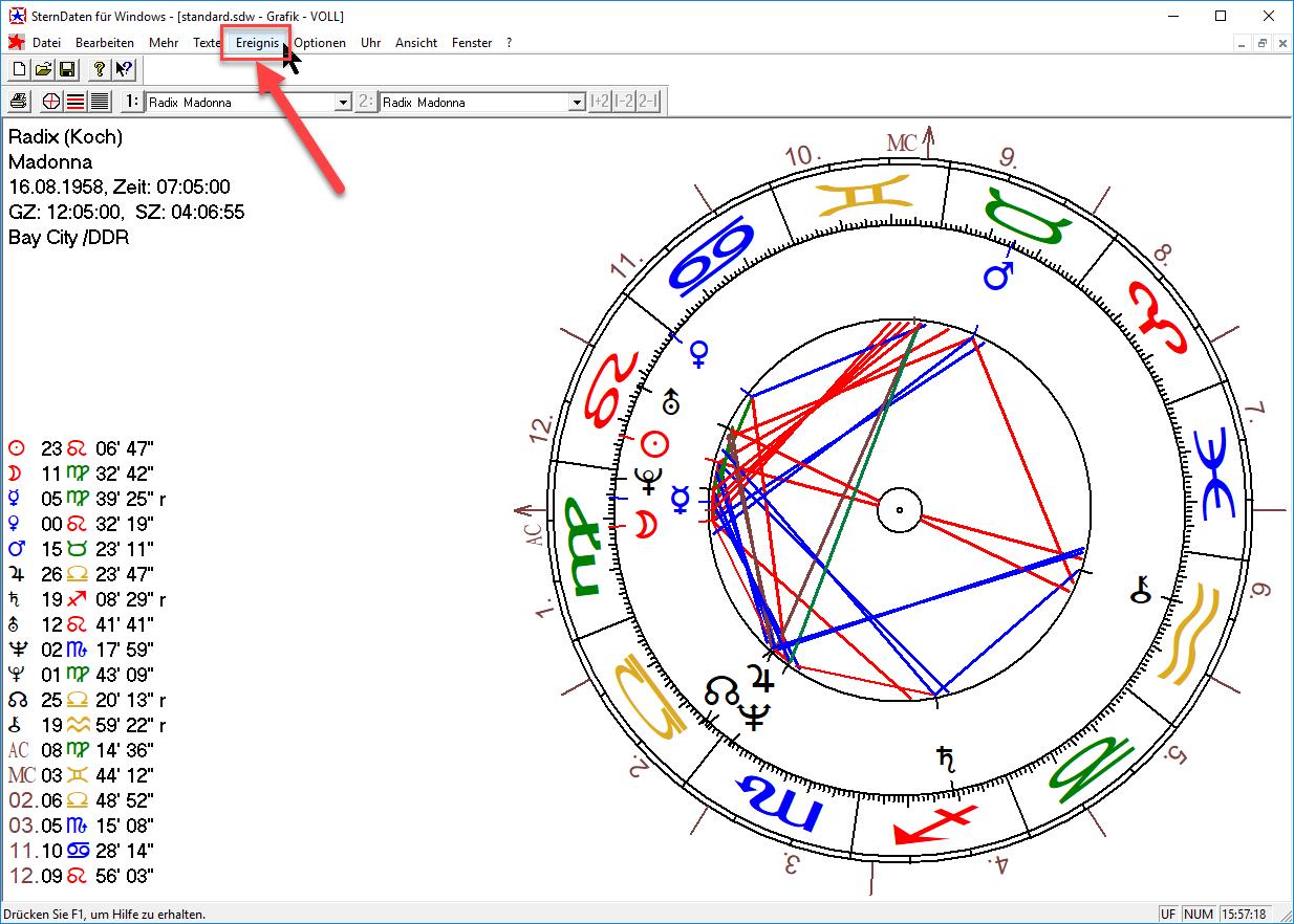 """Horoskop laden und auf """"Ereignis"""" klicken"""