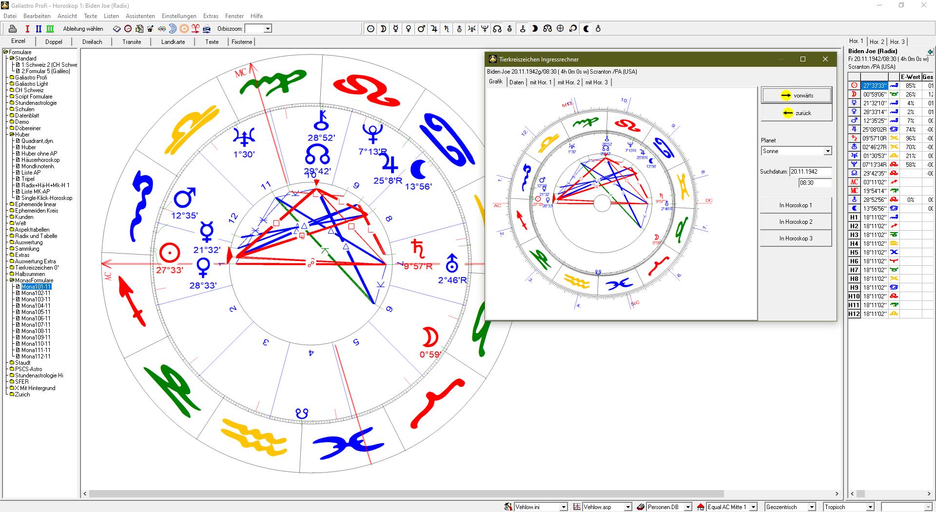 Tierkreiszeichen-Ingressrechner, Datum frei wählbar