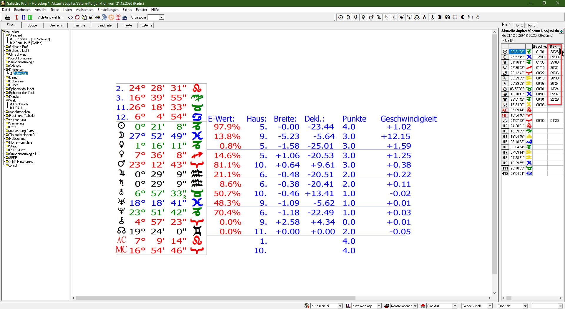 Deklinationen (für Parallel-Aspekte) in Formular und Bildschirm rechts