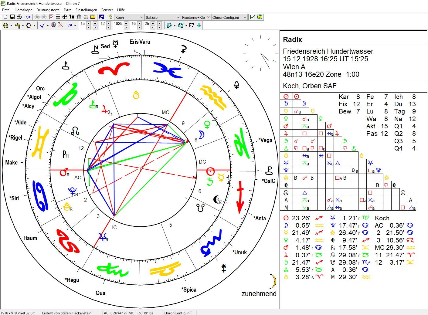 Radix mit Fixsternen und Asteroiden
