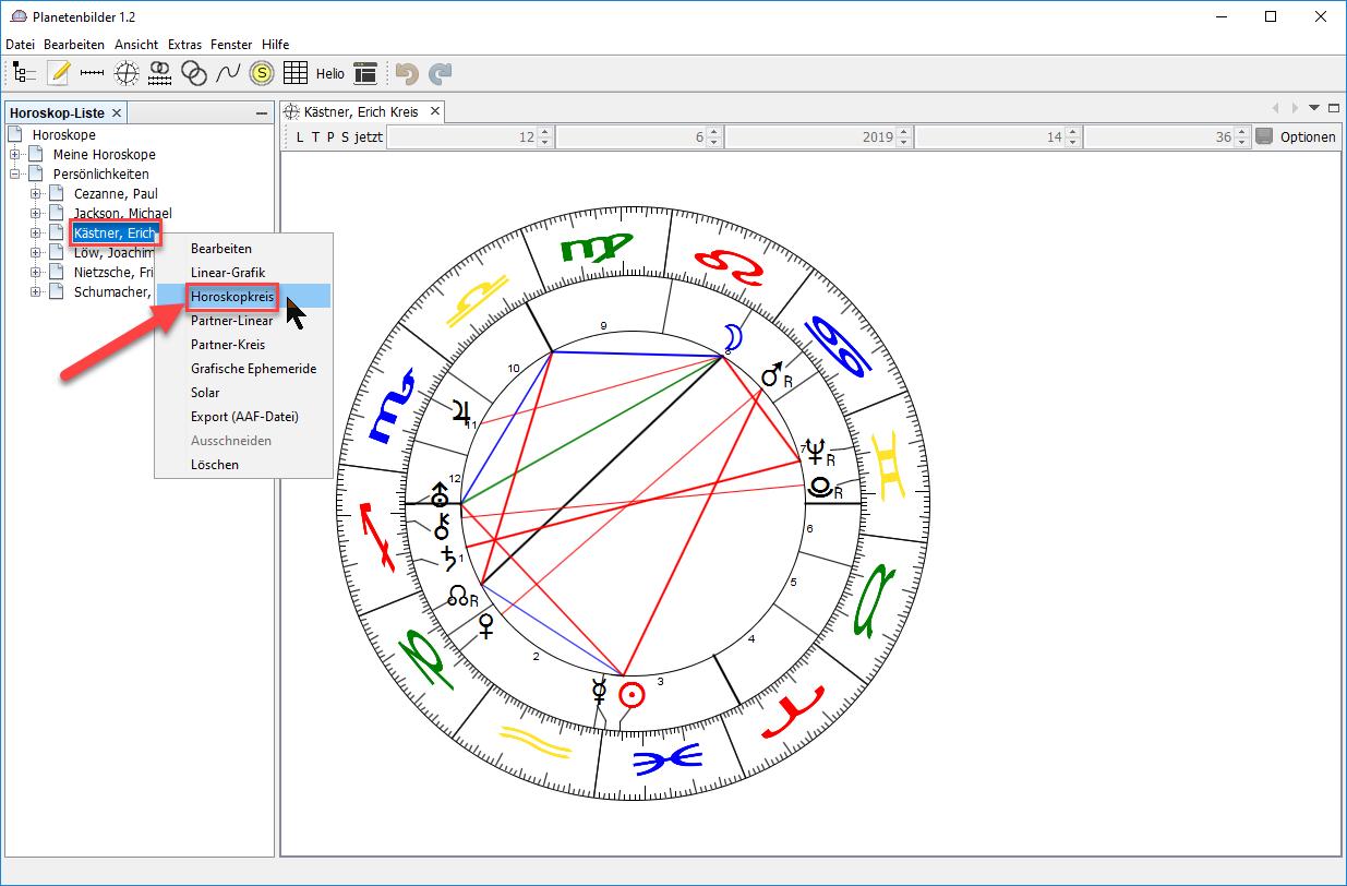 """Mit der rechten Maustaste auf Datensatz klicken, """"Horoskopkreis"""" wählen"""