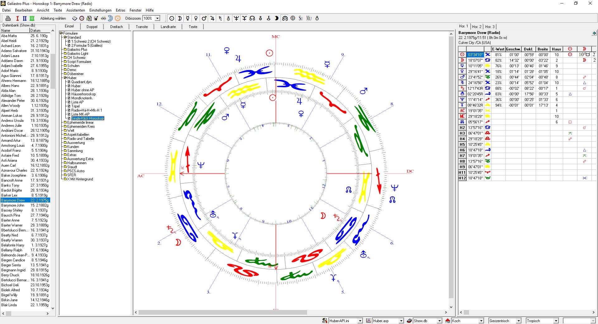 Single-Klick-Horoskop nach Huber