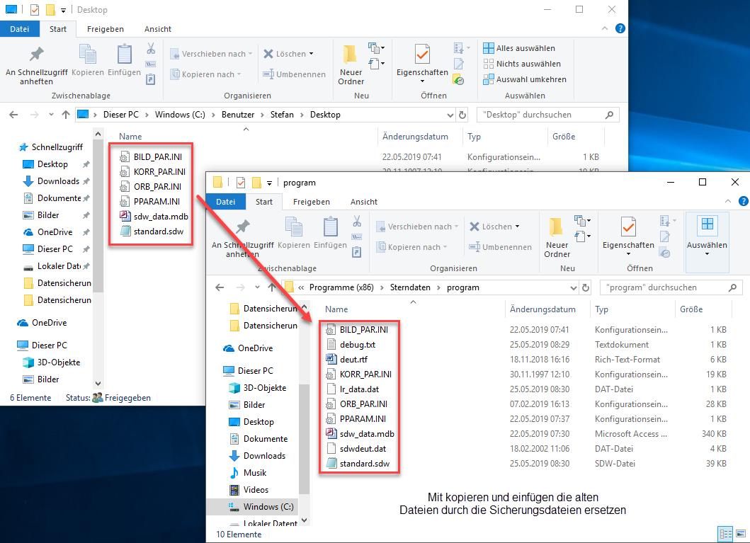 Wiederherzustellende Dateien ersetzen