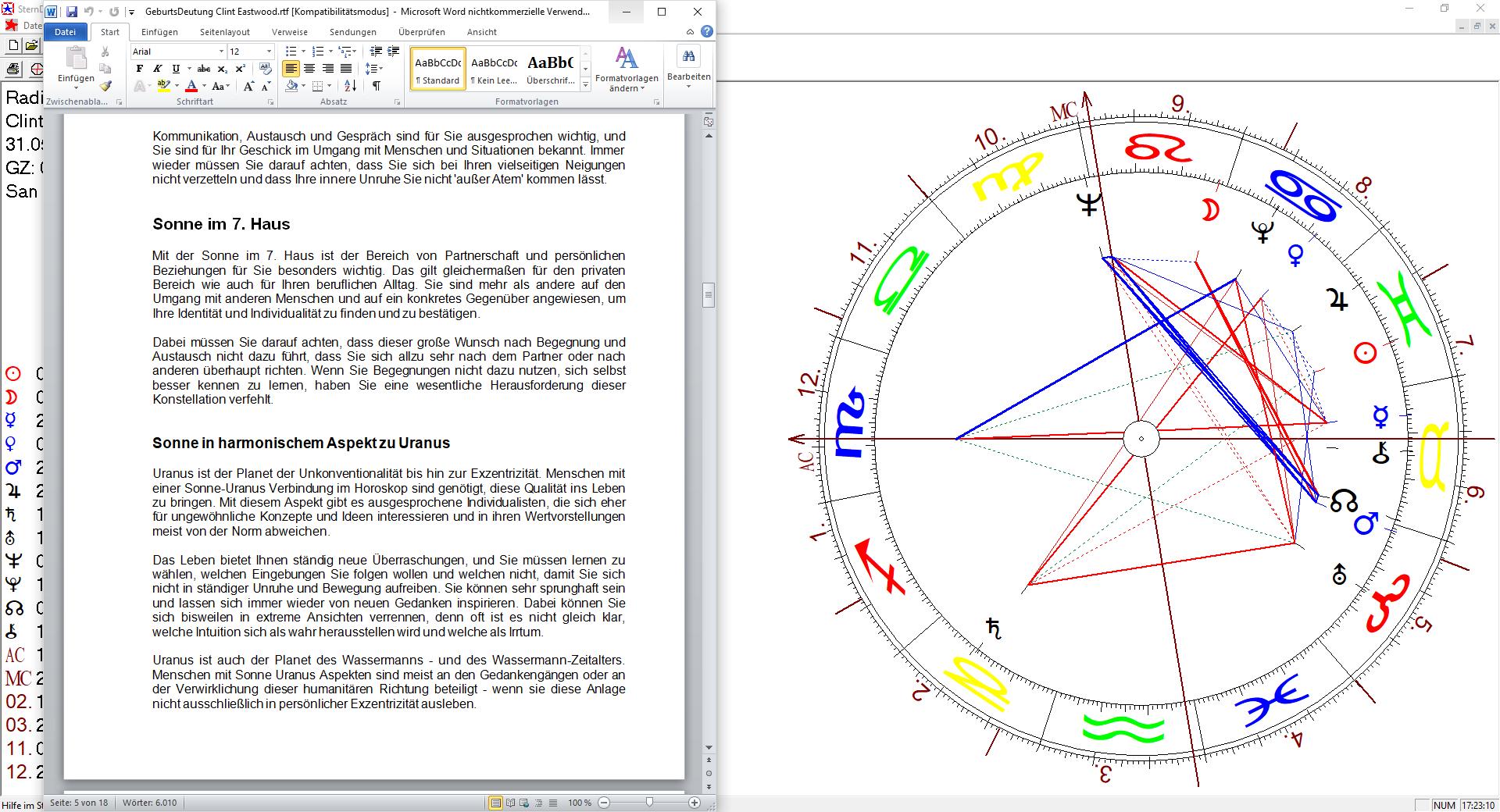 Horoskopanalyse ausdruckbar