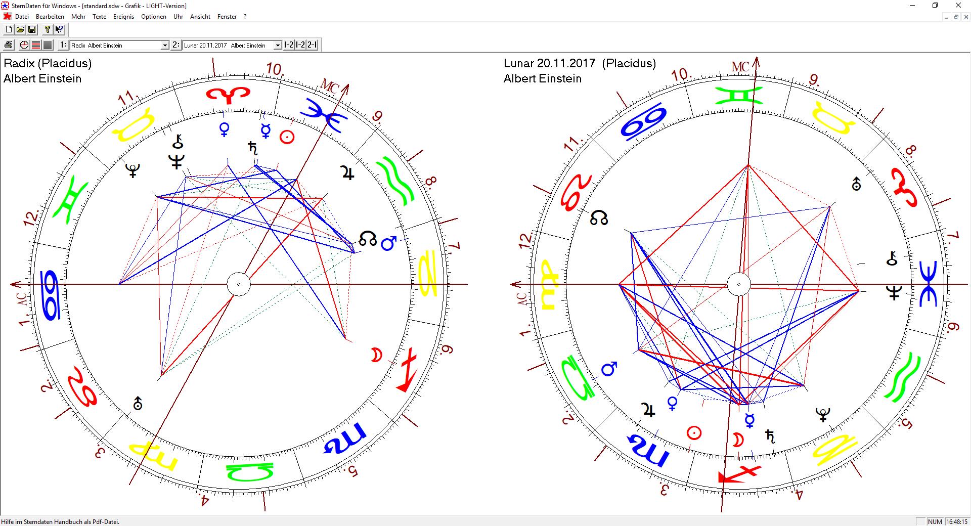 Zwei Horoskope nebeneinander