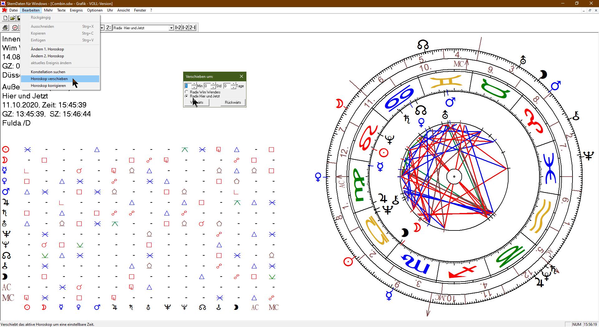 Horoskop verschieben