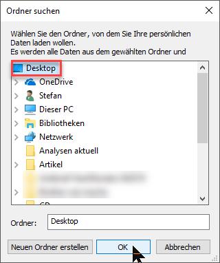 """Pfad wählen und """"OK"""" klicken"""
