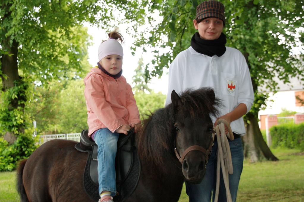 Die fünfjährige Katharina fühlte sich auf Flake in Begleitung von Inga Huhn am Führstrick sichtlich wohl. Sie war nur eine der, die die Chance nutze, einmal auf Tuchfühlung mit dem kleinen Pony zu gehen.