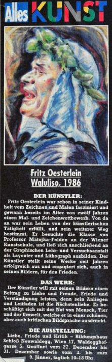 """Fritz Oesterlein """"Waluliso"""" zur Ausstellung Liebe, Friede und Kritik"""