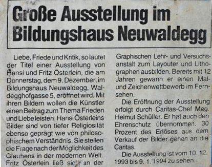 Austellung von Hansi und Fritz Oesterlein 1994 im Bildungshaus Neuwaldegg