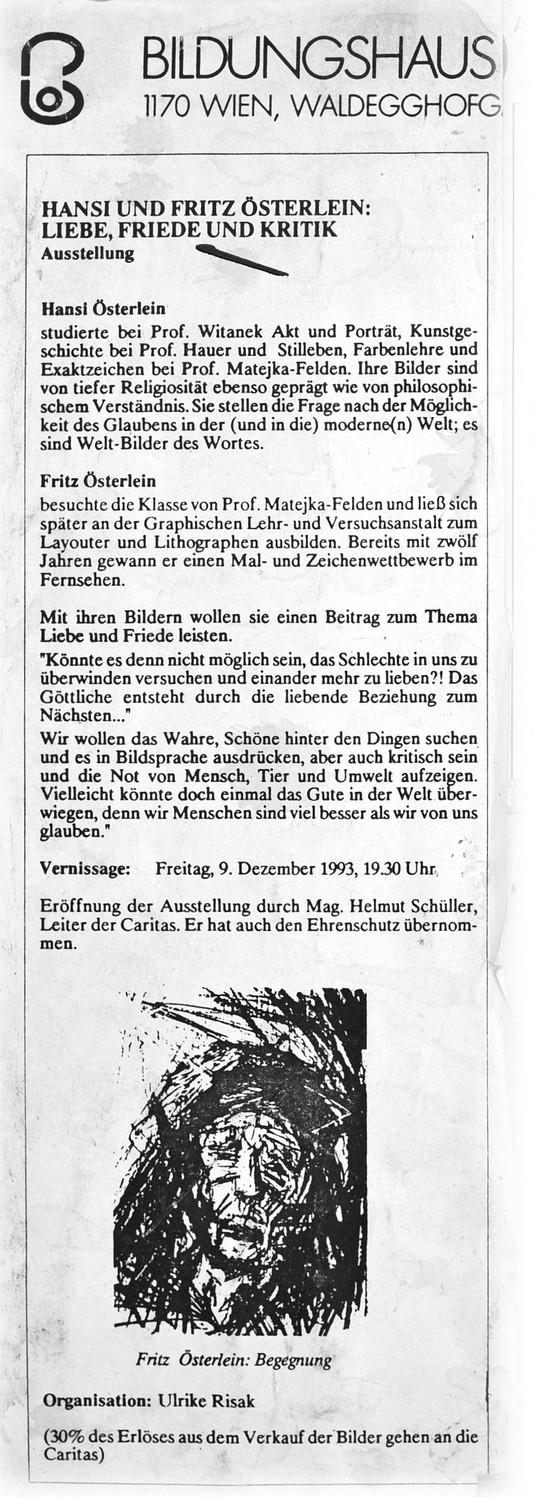 Hansi und Fritz Oesterlein Ausstellung Bildungshaus der Caritas