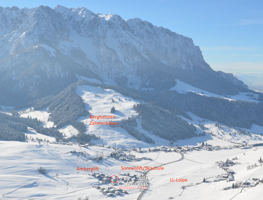Wir liegen direkt an der Skipiste im Winter (Amberglift)