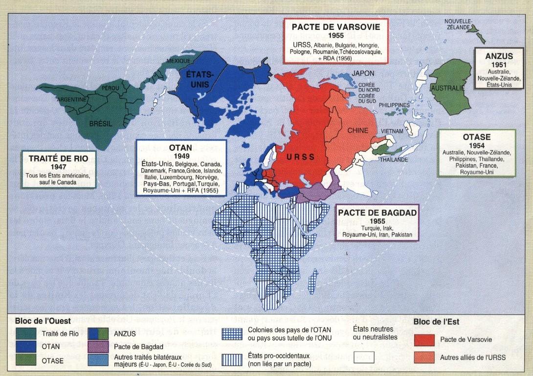 Le monde de la guerre froide en 1956 (carte tirée du manuel Nathan de 1995)