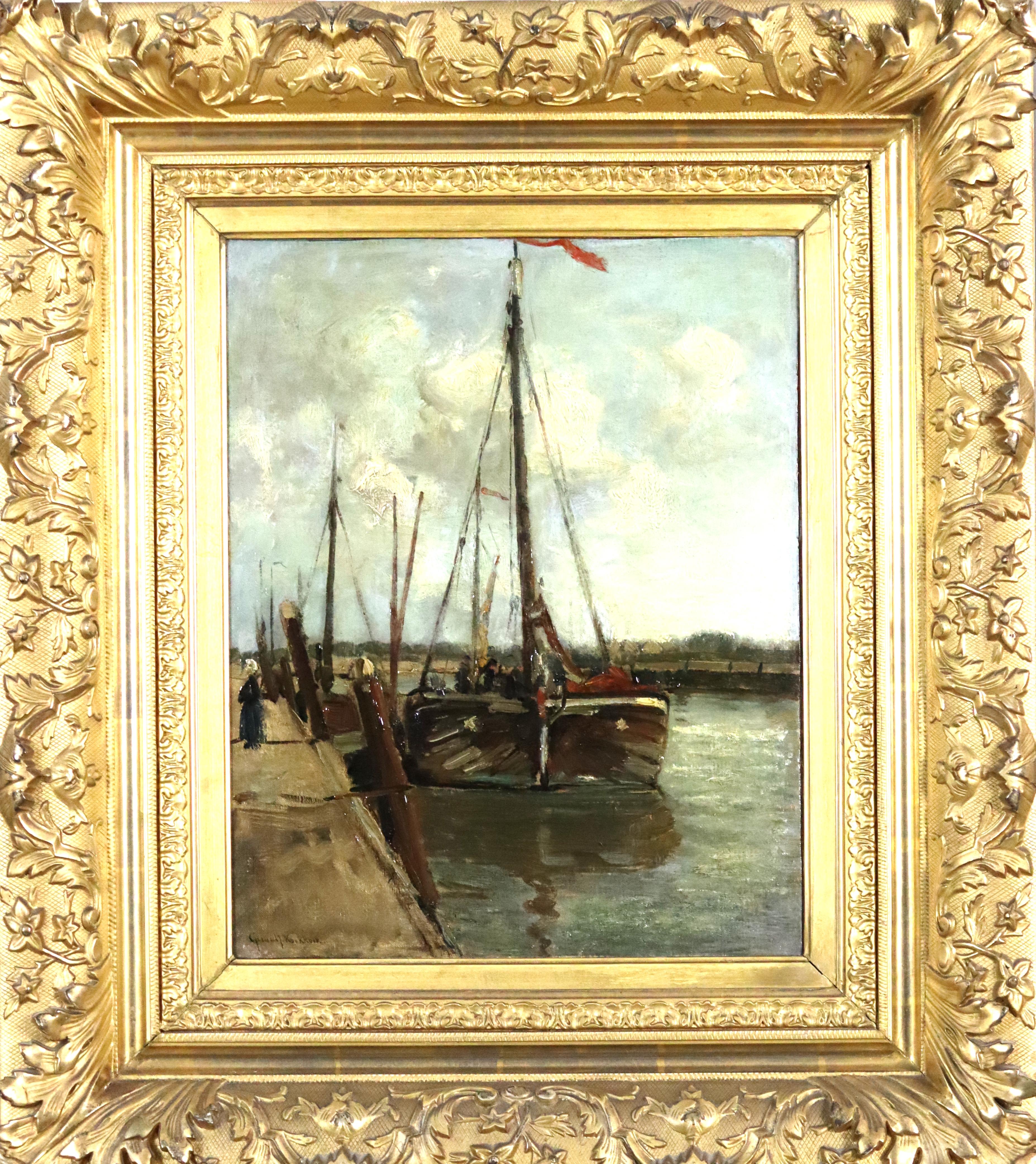 te_koop_aangeboden_een_haven_schilderij_van_de_nederlandse_kunstschilder_gerardus_johannes_koekkoek_1871-1956