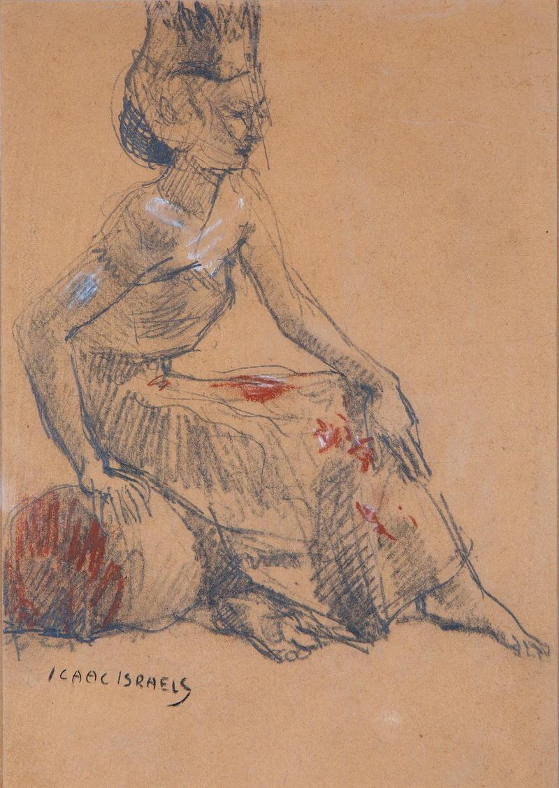 te_koop_aangeboden_een_pastel_kunstwerk_van_de_kunstschilder_isaac_israels_1865-1934_amsterdamse_school