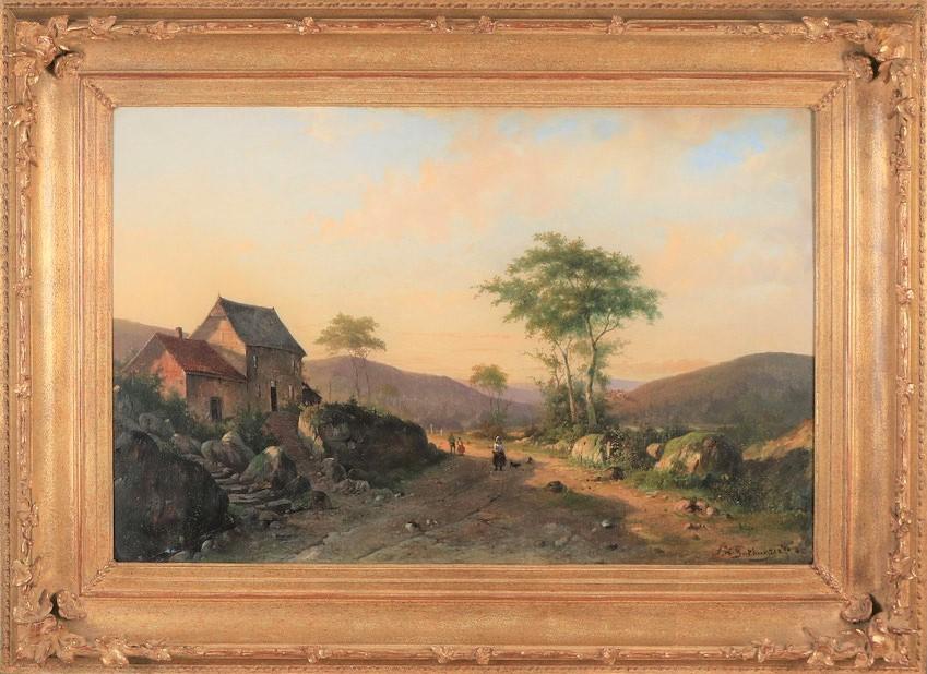 te_koop_aangeboden_een_landschaps_schilderij_van_de_kunstschilder_alexander_hieronymus_bakhuijzen_II_1826-1878_hollandse_romantiek