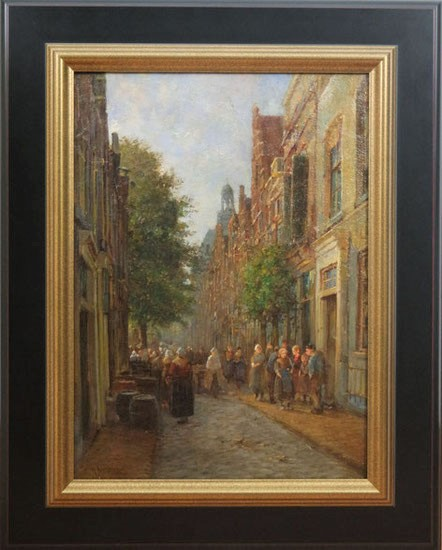 te_koop_aangeboden_een_stadsgezicht_van_de_nederlandse_kunstschilder_willem_hendrik_eickelberg_1845-1920_hollandse_romantiek