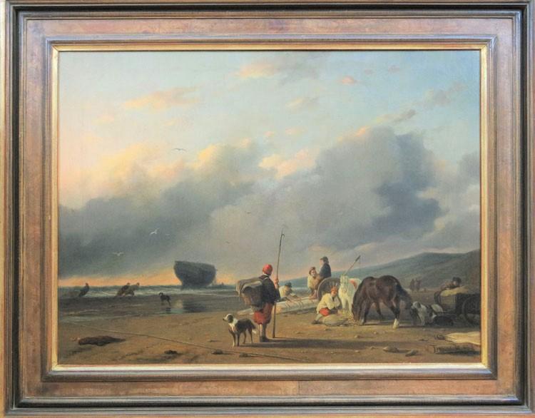 te_koop_aangeboden_een_genre_strandgezicht_van_de_franse_kunstschilder_louis_auguste_adolphe_williot_1829-1865
