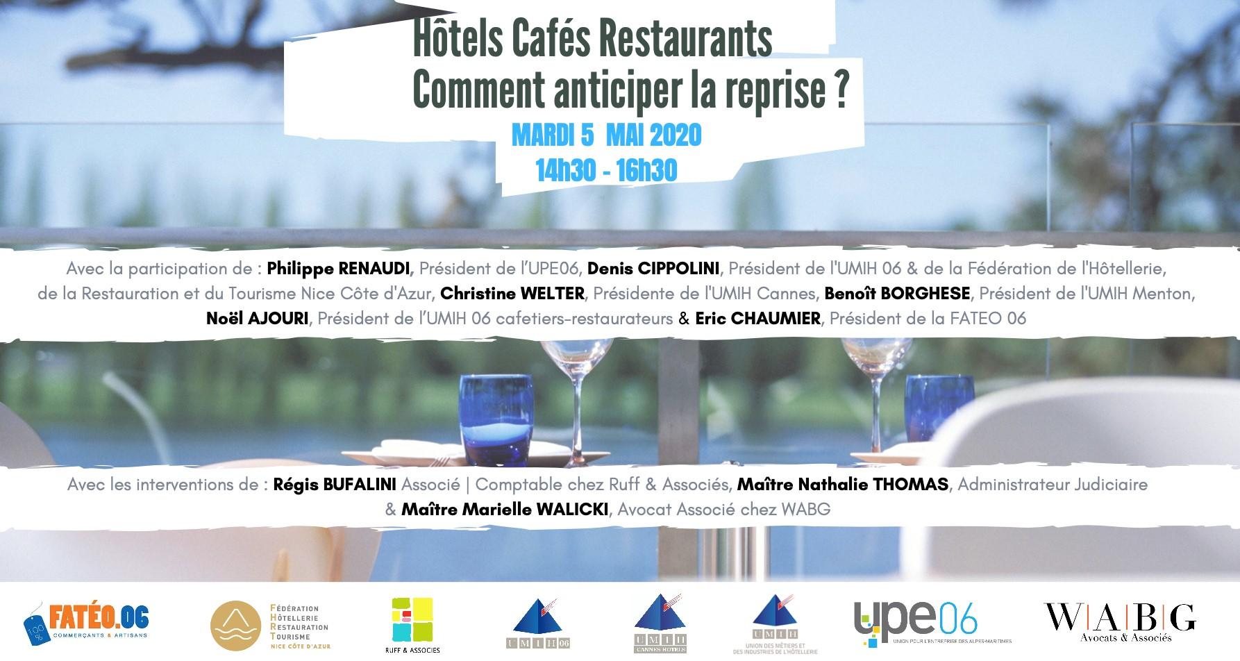Webinaire du 5 mai 2020 : Hôtels Cafés Restaurants, comment anticiper la reprise ?