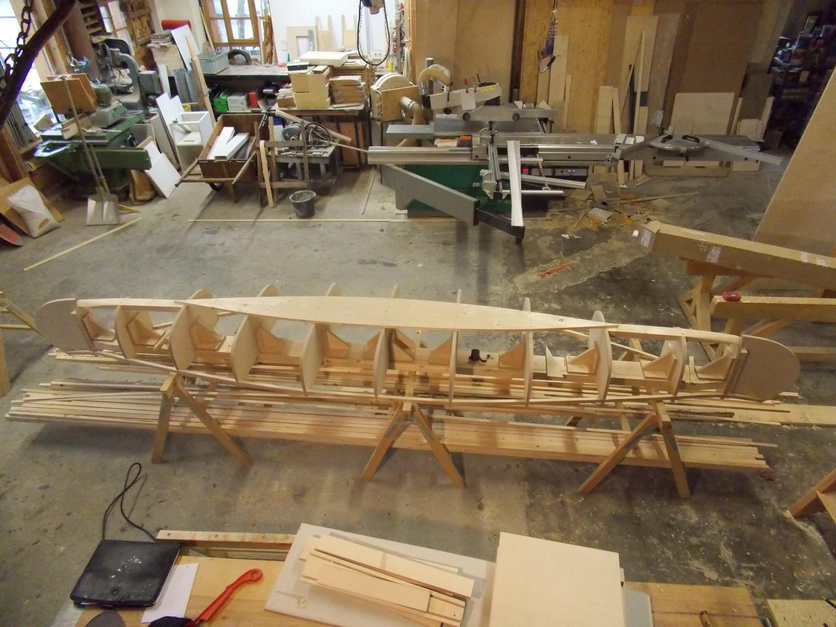 Den größten Wert einer Wood und Canvas Manufaktur stellen wohl die Negativformen dar. Hier zu sehen das Grundgerüst.