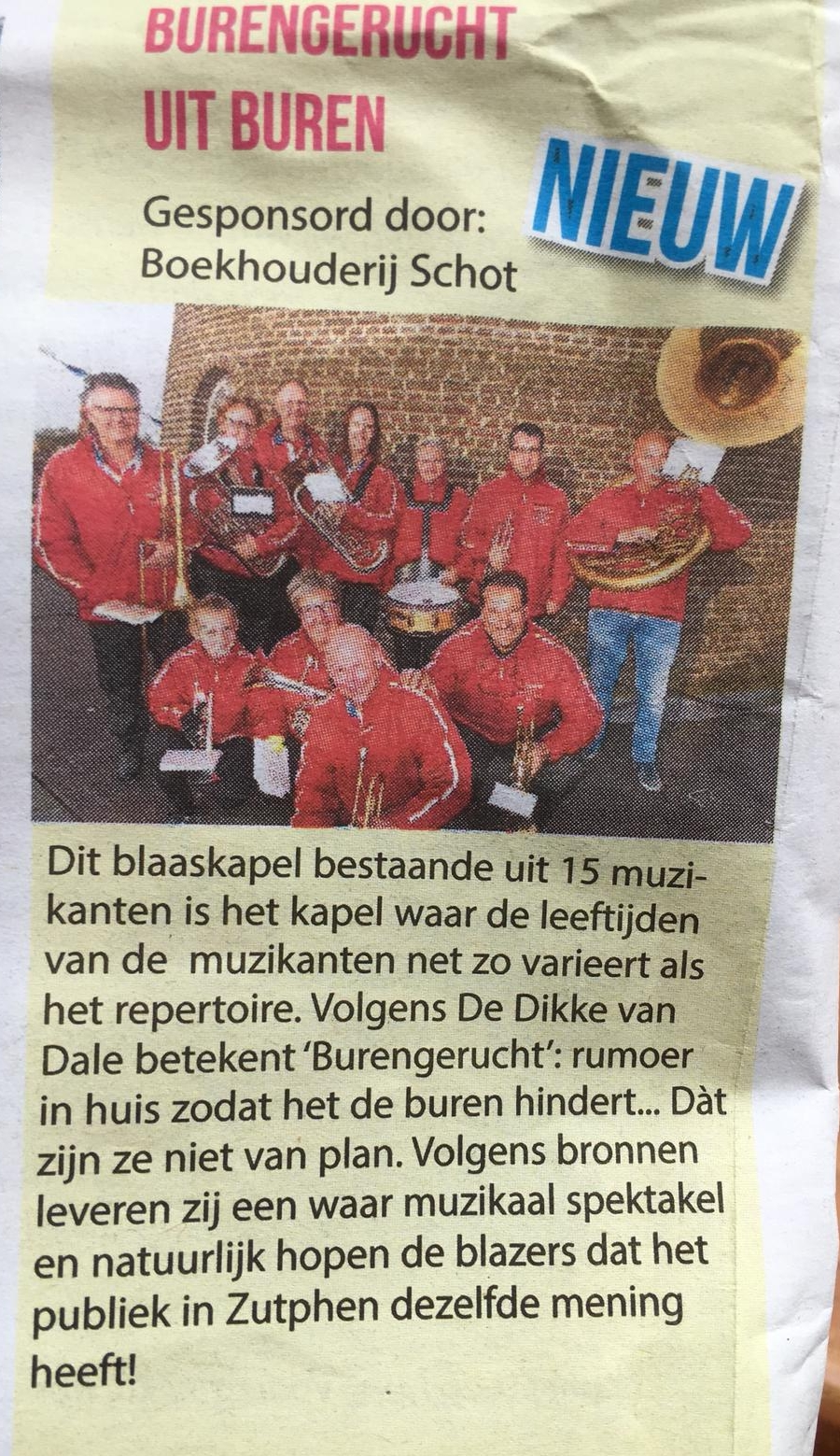 Krantenartikel in de lokale krant van Zutphen 2018