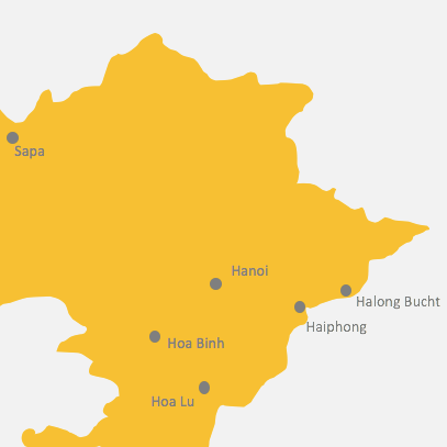 Kartenansicht von Vietnams Norden