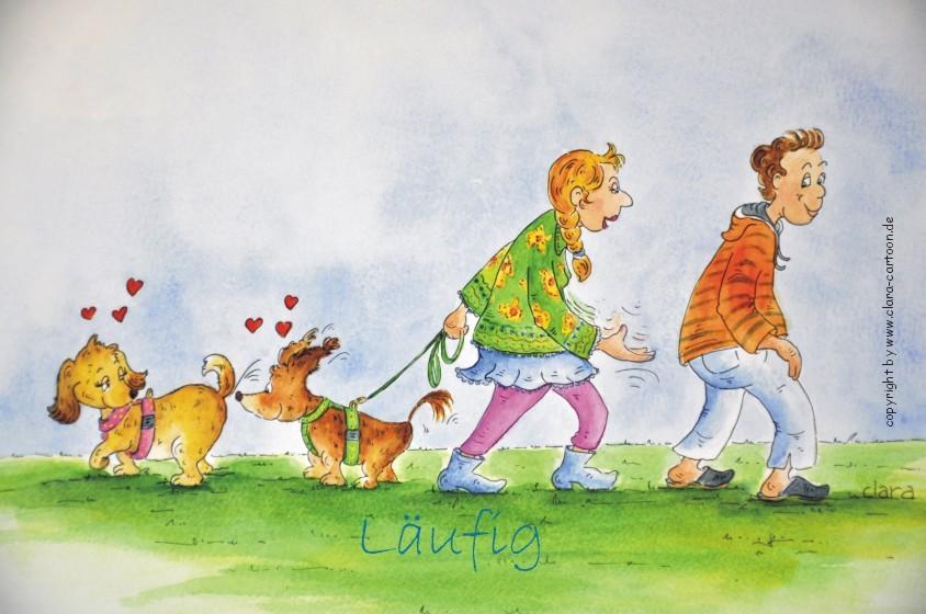 Cartoon über zwei läufige Hunde und Menschen