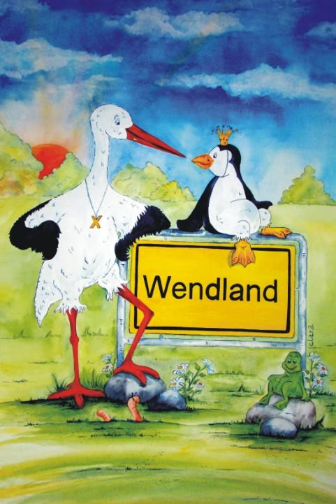 Die Cartoonistin Clara hat mit diesem Bild eine Liebeserklärung an das Wendland gemalt. Ein Storch und ein Pinguin sitzen am Ortsschild Wendland. Ansichtskarte aus dem Wendland aus dem Atelier Clara