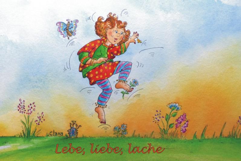 Lebe, liebe, lache, lebensfrohe Illustration für Lebensfreude