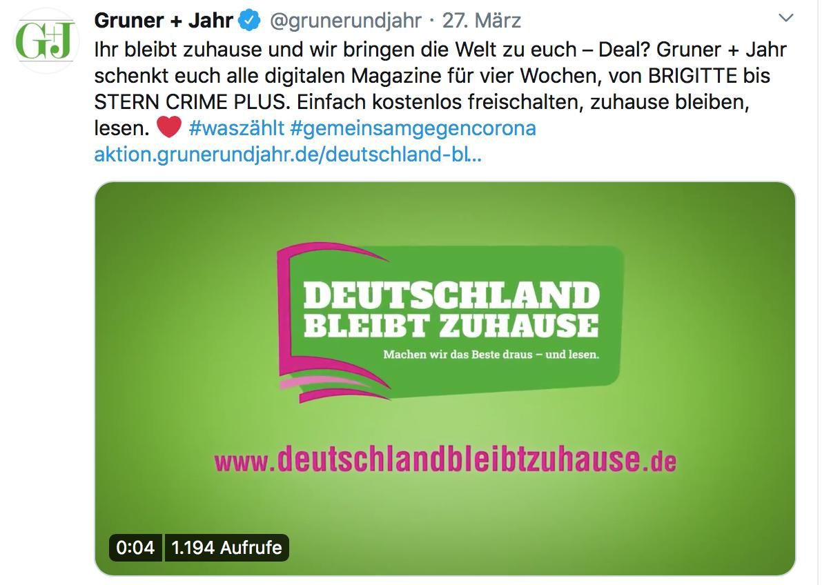 Gruner + Jahr, Wir bleiben zu Hause, TV Campagne, 27.03.2020, Song: Green Dots