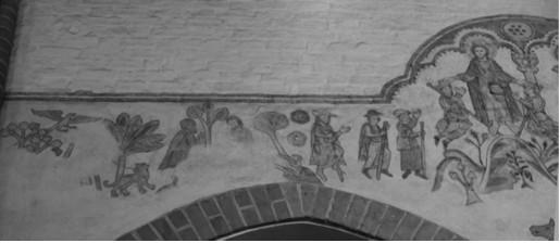St. Nicolai, Mölln / Detail: Reste der Galgen- und Hühnerwunder-Szene