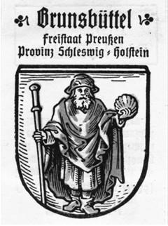 Brunsbüttel (Dithmarschen): Stadtwappen mit Jakobus-Abb.